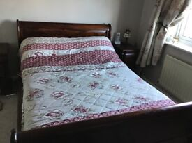 Mahogany double sleigh bed and matching items