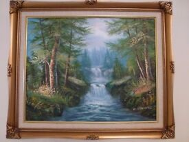 Woodland with cascading Waterfall canvas original Oil Painting