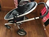 Silver cross pram. Raspberry