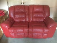 Quality red leather reclining sofa