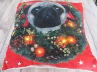 Pug Face Christmas Cushion.