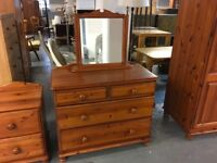 PINE CHEST OF DRAWERS WITH FREE STANDING MIRROR