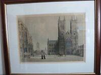 Three large prints of scenes of old London buildings.