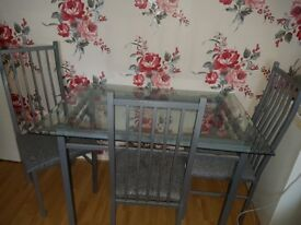 dining set grey with four chairs