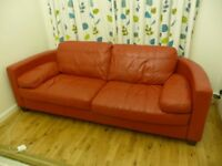 Sofa red leather .little used excellent condition