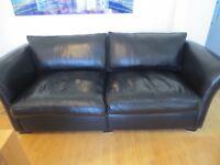 Large Handmade Black Leather Sofa