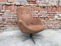 60s Vintage Big Tubby Metal Framed Foam Comfortable Swivel Cocktail Chair