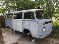 VW T2 bay window camper micro bus rare double slider project 1973