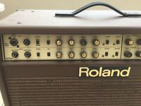 Roland AC100 acoustic amplifier. Built in digital reverb and chorus. Tatty, heavy, but quality build