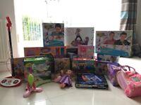 Girls Job Lot Of Toys, Puzzles, Dolls, Dance Matt, Singing Microphones