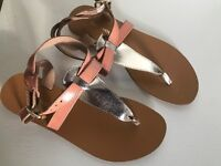 Ladies Warehouse Tan and Gold Strappy Sandals - Size 7 / 40 - Unworn