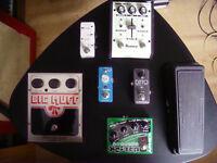 Guitar pedals, big muff fuzz, Ibanez Echo Shifter analogue echo, Mooer octaver, di acoustic guitar