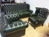 Lovely 3 piece green leather chesterfield . 4 setter high back chair and club chair.