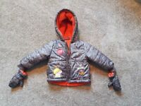 Warm peppa pig coat - worn once 18-24 months