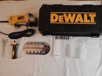 Dewalt 28113 Angle Grinder 115mm 230v. Like new, never been used, includes x5 Norton cutting discs.