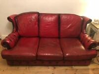 Vintage leather oxblood three seater chesterfield sofa