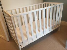 Mothercare white cot and mattress