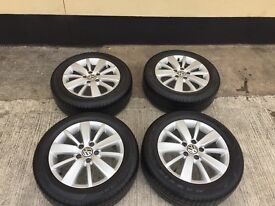 Set Of 4 Mint Volkswagen Golf Alloys with Good Tyres Mint MK5/6/Polo/Passat
