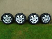 4 VW 16inch wheels with good tyres and centre caps