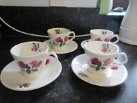 Set of four vintage cups & Saucers by Lord Nelson Pottery