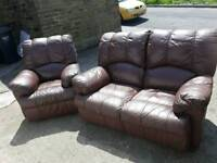 brown 2 seater and chair recliners