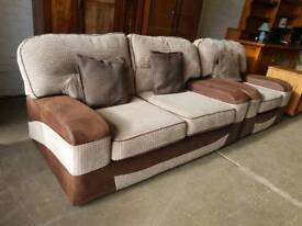 Brown corduroy two seater sofa with chair in excellent condition