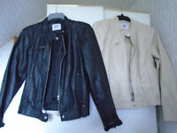 2 LADIES FAUX LEATHER JACKETS, 1 BLACK and 1 CREAM, BRAND NEW