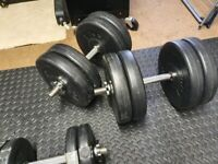 Pair of 20kg dumbbells with extras