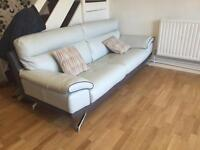 Selling these lovely 2 and 3 Aqua white and Grey suede Drimitri Sofas from DFS