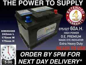PEUGEOT 206CC CAR BATTERY 075 60AH EXTRA HEAVY DUTY SEALED O.E.M. NEXT DAY BY5PM