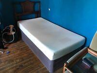 Good condition single foam mattress divan bed and headboard
