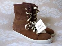 Ladies Boots - Timberland Earthkeepers Glastenbury Brown Leather Trainer Boots Wedge Roll Down