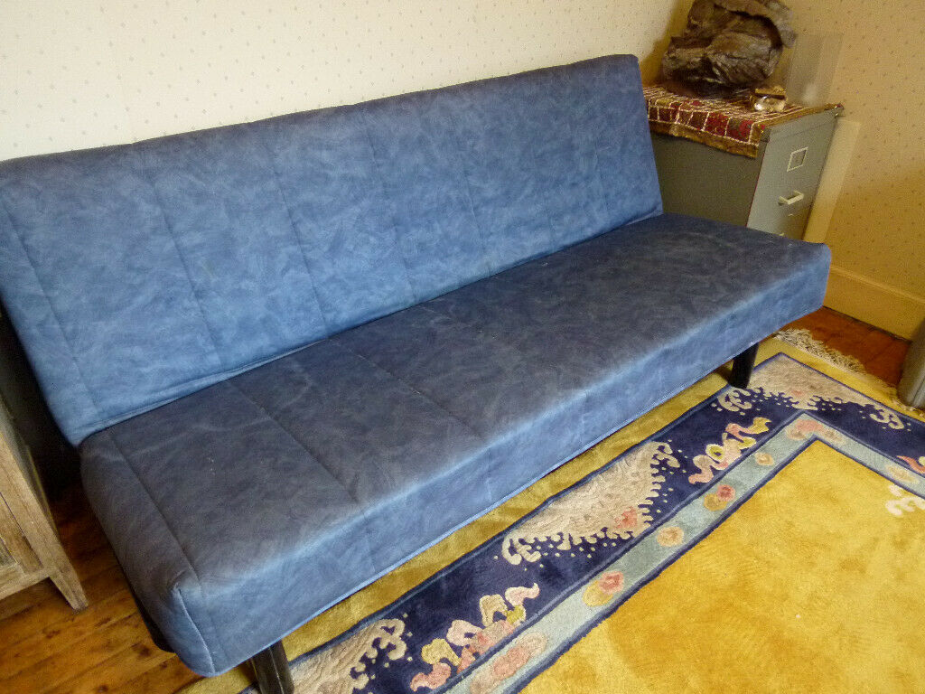 Blue Bench Style Sofa Bed Clic Clac Converts To Double Sprung Mattress And Slatted Base