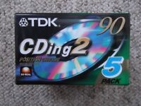 New/sealed TDK audiocassettes - pack of 5 TDK CDing2 90 - 90-minute Chrome/Type II cassette tapes
