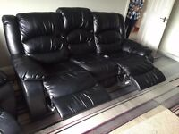 Black Reclining Leather Sofa & Chair Set For Sale