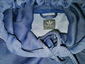 Adidas hoody hoodie jacket - size mefium/large - blue