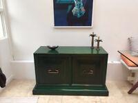 Vintage Mid Century Sideboard Cabinet 1960s 70s Green Younger Wood Teak Furniture