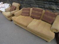 Sofa + Armchair - Dark Beige/Mustard/Cream