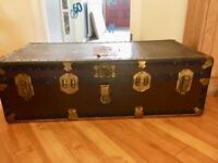 Vintage Steamer Trunk with Queen Mary Cunard White Star Labels