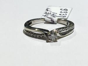 #3337 14K WHITE GOLD BRILLIANT CUT DIAMOND ENGAGEMENT RING *SIZE 4 3/4* APPRAISED $1,350.00 SELL $425.00