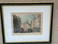 "Vintage ENGRAVING By T. H. SHEPHERD ""Bishopsgate Street"" Framed Matted W/Glass"
