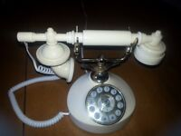Cream/ Ivory coloured retro styled telephone in working order