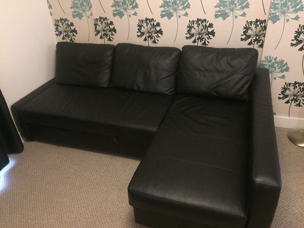 1 5 Year Old Corner Sofa Bed Black Vinyl Faux Leather