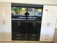 Black gloss 2 door wardrobes £125 each