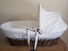 Moses basket Clair de lune Hard wicker moses basket with rocking stand excellent condition £25