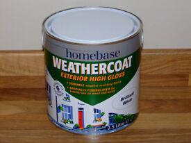 Homebase Weathercoat Exterior High Gloss Paint - Brilliant White 2.5L