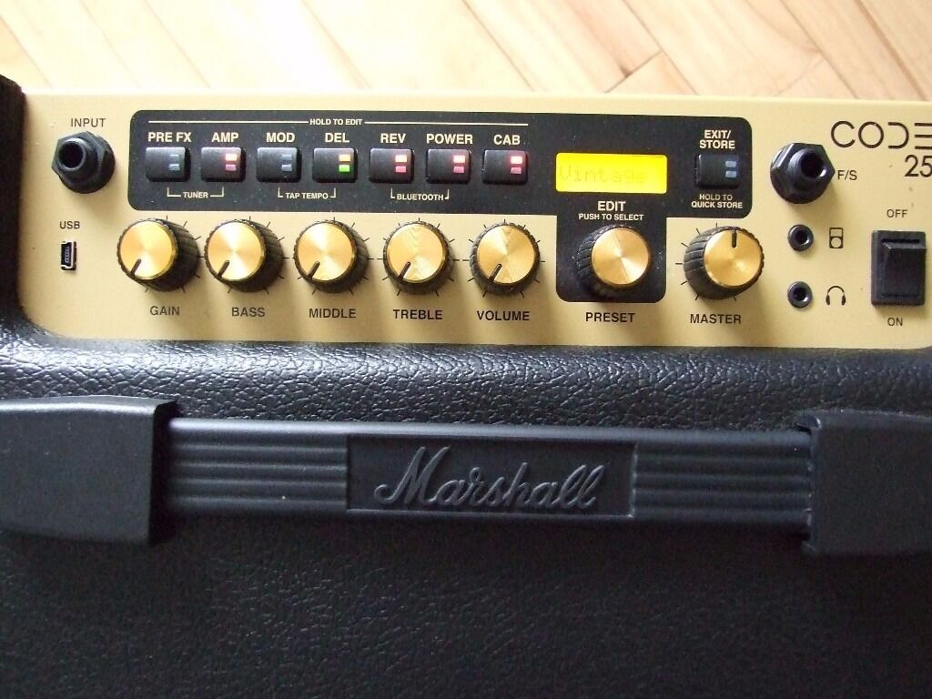 Marshall Code 25 Combo Amplifier, 25 watts. Home use only, like new.