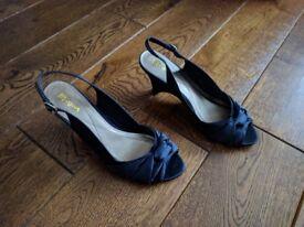 Monsoon Women's Peep Toe Sling Backs in Navy Blue Satin (Size 4 UK / 37 EU) - Wedge Heel