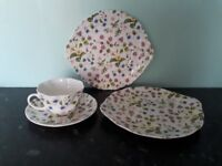 Queen's Fine Bone China Country Meadow Cup, Saucer and Two Plates