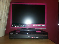 pink sony 20 inch freeview tv / sony hxd770 dvd recorder 120 gb